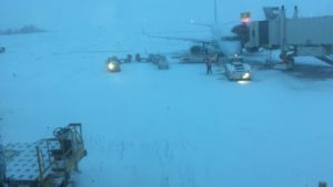 View from the gate. Snow is falling heavily.